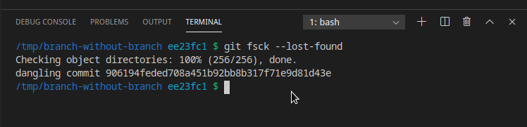 Dangling commit with fsck command